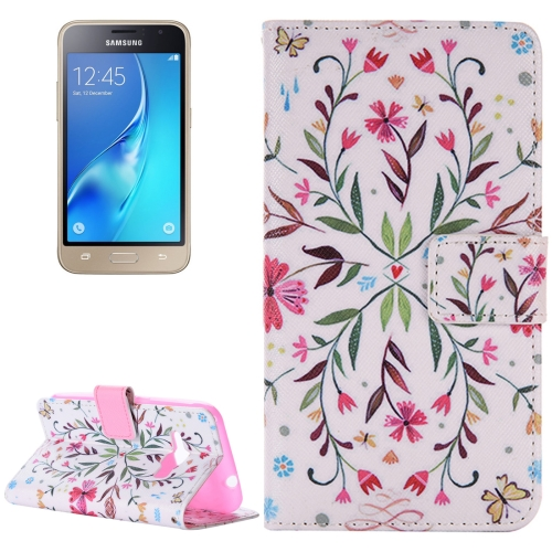 For Samsung Galaxy J1, 2016 / J120 Flower Pattern Horizontal Flip Magnetic Leather Case with Holder and Card Slots & Wallet