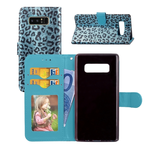 Buy For Samsung Galaxy Note 8 Leopard Pattern Horizontal Flip Leather Case with Holder & Card Slots & Wallet & Photo Frame & Lanyard, Blue for $3.19 in SUNSKY store