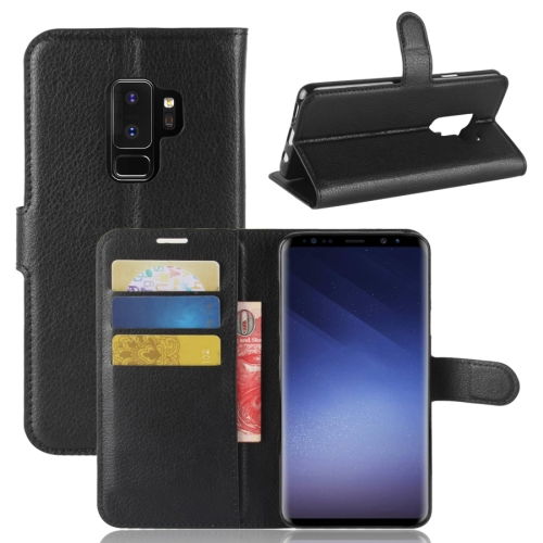 Buy For Samsung Galaxy S9+ Litchi Texture Horizontal Flip Leather Case with Holder & Wallet & Card Slots, Black for $2.43 in SUNSKY store