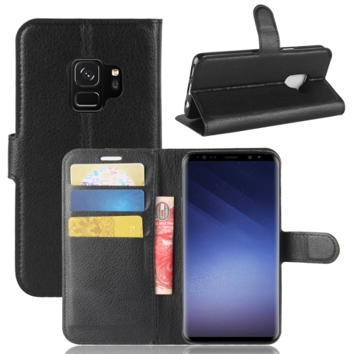 Buy For Samsung Galaxy S9 Litchi Texture Horizontal Flip Leather Case with Holder & Wallet & Card Slots, Black for $2.43 in SUNSKY store