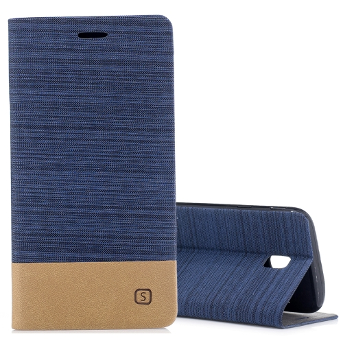 Buy For Samsung Galaxy J3, 2017 / J330  (EU Version) Canvas Texture PU + TPU Horizontal Flip Leather Case with Holder & Card Slots (Dark Blue) for $2.67 in SUNSKY store