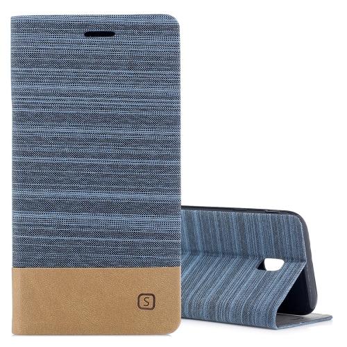 For Samsung Galaxy J3, 2017 / J330  (EU Version) Canvas Texture PU + TPU Horizontal Flip Leather Case with Holder & Card Slots, Blue