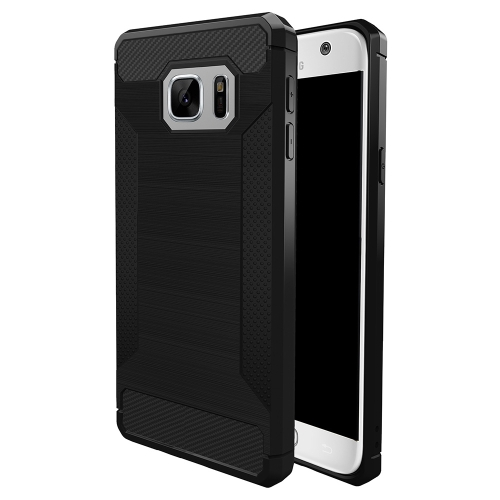 Buy For Samsung Galaxy S7 Brushed Texture Carbon Fiber Anti-slip TPU Protective Cover Case, Black for $1.87 in SUNSKY store