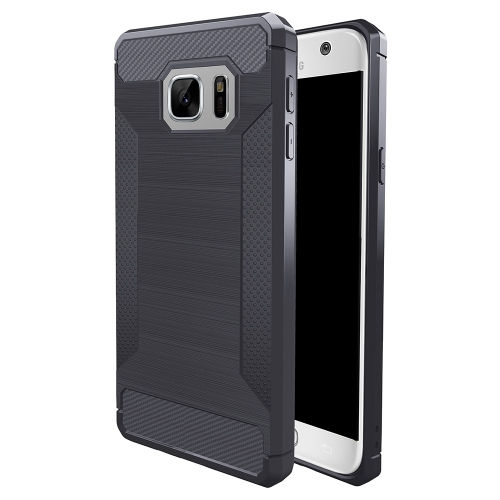 Buy For Samsung Galaxy S7 Brushed Texture Carbon Fiber Anti-slip TPU Protective Cover Case, Grey for $1.87 in SUNSKY store