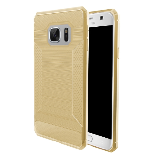 Buy For Samsung Galaxy S7 Brushed Texture Carbon Fiber Anti-slip TPU Protective Cover Case, Gold for $1.77 in SUNSKY store