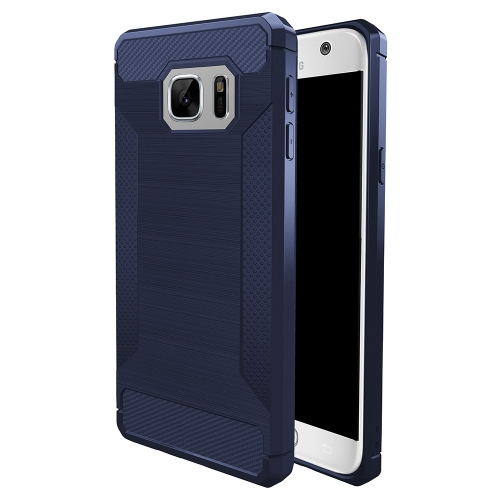Buy For Samsung Galaxy S7 Brushed Texture Carbon Fiber Anti-slip TPU Protective Cover Case, navy for $1.87 in SUNSKY store