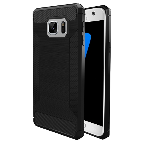 Buy For Samsung Galaxy S7 Edge Brushed Texture Carbon Fiber Anti-slip TPU Protective Cover Case, Black for $1.89 in SUNSKY store
