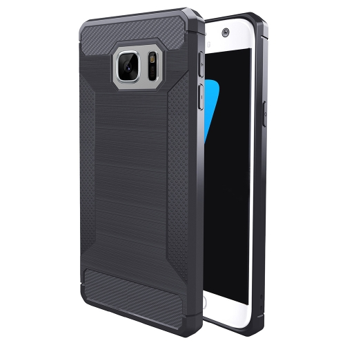 Buy For Samsung Galaxy S7 Edge Brushed Texture Carbon Fiber Anti-slip TPU Protective Cover Case, Grey for $1.77 in SUNSKY store