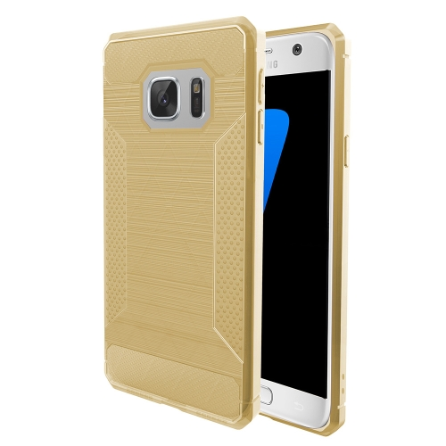 Buy For Samsung Galaxy S7 Edge Brushed Texture Carbon Fiber Anti-slip TPU Protective Cover Case, Gold for $1.77 in SUNSKY store
