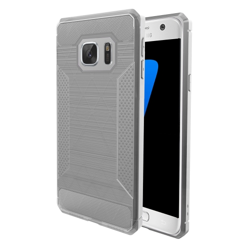 Buy For Samsung Galaxy S7 Edge Brushed Texture Carbon Fiber Anti-slip TPU Protective Cover Case (Light Grey) for $1.77 in SUNSKY store