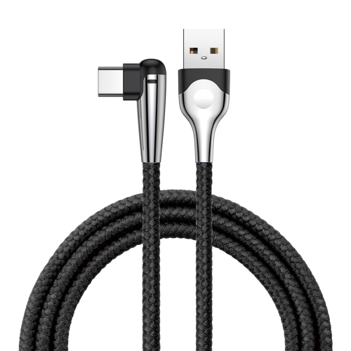 Baseus MVP 1m 5V/3A Nylon Braided Mobile Game Cord Elbow USB A to Type-C Data Sync Charge Cable with Indicator Light, For Galaxy, Huawei, Xiaomi, LG, HTC and Other Smart Phones(Black)