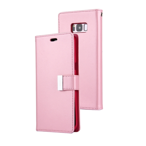 MERCURY GOOSPERY RICH DIARY for Samsung Galaxy S8 + / G955 PU + TPU Crazy Horse Texture Horizontal Flip Leather Case with Card Slots & Wallet, Pink