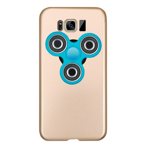 For Samsung Galaxy S8 Triangle Gyro EDC Fidget Hand Spinner Protective Back Cove Case (Gold + Blue)
