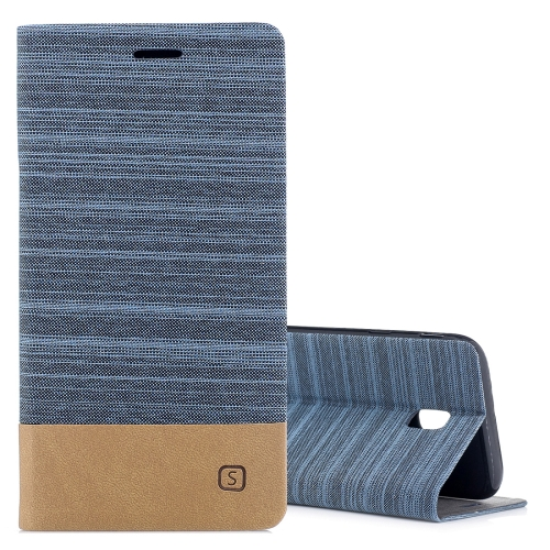 Buy For Samsung Galaxy J7, 2017 / J730  (EU Version) Canvas Texture PU + TPU Horizontal Flip Leather Case with Holder & Card Slots, Blue for $2.67 in SUNSKY store