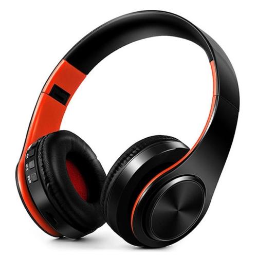 LPT660 Wireless Folding Sports Stereo Music Bluetooth Phones Earphones Support TF Card (Orange)