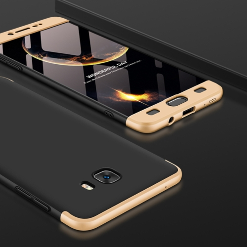 GKK for Galaxy C9 Pro Three Stage Splicing 360 Degree Full Coverage PC Protective Case Back Cover (Black+Gold) 2017 winter new yohe full face motorcycle helmet yh 970 full cover motorbike helmets made of abs pc visor lens 15 kinds colors
