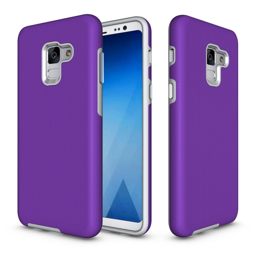 Buy For Samsung Galaxy A8, 2018 Anti-slip Armor Texture TPU + PC Protective Case Back Cover Shell, Purple for $2.67 in SUNSKY store