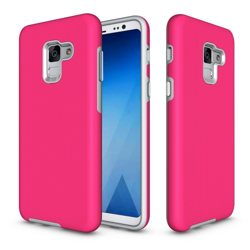 Buy For Samsung Galaxy A8+, 2018 Anti-slip Armor Texture TPU + PC Protective Case Back Cover Shell, Magenta for $2.67 in SUNSKY store