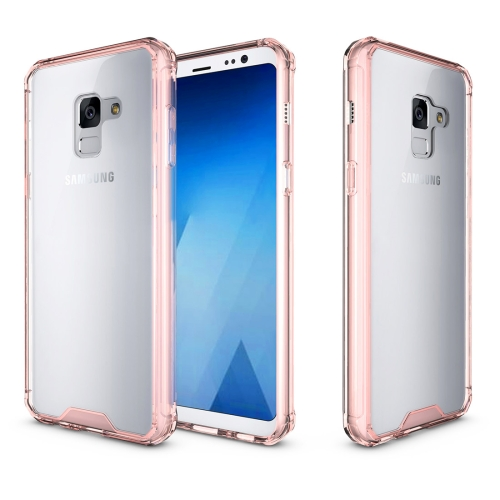 For Samsung Galaxy A8, 2018 Acrylic + TPU Shockproof Transparent Armor Protective Back Cover Case, Magenta