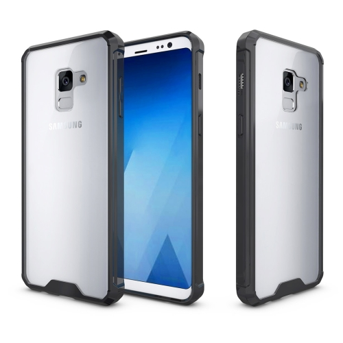For Samsung Galaxy A8+, 2018 Acrylic + TPU Shockproof Transparent Armor Protective Back Cover Case, Black