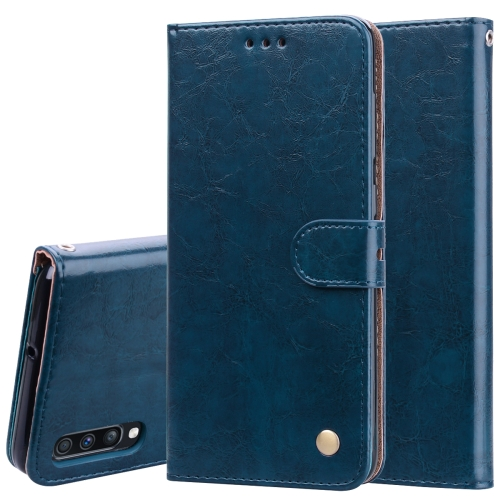 Business Style Oil Wax Texture Horizontal Flip Leather Case for Galaxy A70, with Holder & Card Slots & Wallet (Blue)
