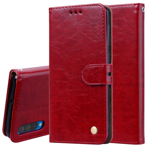 Business Style Oil Wax Texture Horizontal Flip Leather Case for Galaxy A50, with Holder & Card Slots & Wallet (Red)