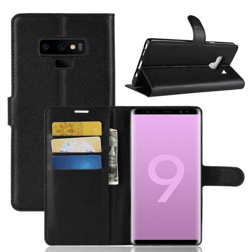 Litchi Texture Horizontal Flip Leather Case for Galaxy Note 9, with Wallet & Holder & Card Slots(Black) protective lychee pattern pu leather case w card slots holder for samsung galaxy note 3 black