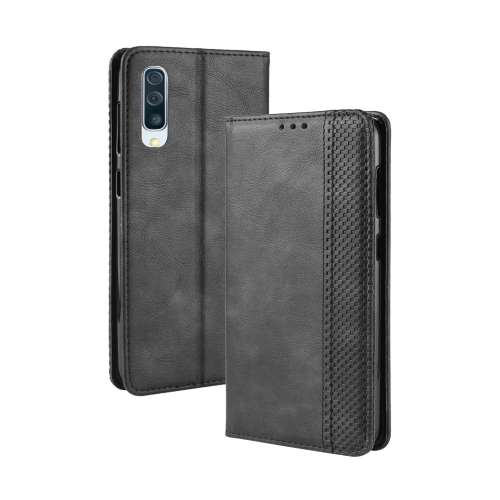 Magnetic Buckle Retro Texture Horizontal Flip Leather Case for Galaxy A50, with Holder & Card Slots & Wallet (Black)