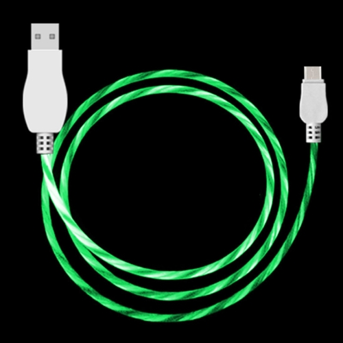 LED Flowing Light 1m USB A to Type-C Data Sync Charge Cable, For Galaxy, Huawei, Xiaomi, LG, HTC and Other Smart Phones(Green)