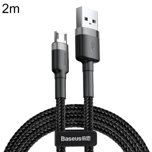 Baseus CAMKLF-C09 2m 1.5A USB to Micro USB Cafule Double-sided Insertion Braided Cord Data Sync Charge Cable, For Galaxy, Huawei, Xiaomi, LG, HTC and Other Smart Phones(Grey)
