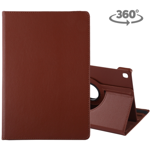 Litchi Texture Horizontal Flip 360 Degrees Rotation Leather Case for Galaxy Tab S5e 10.5 T720 / T725, with Holder(Brown)