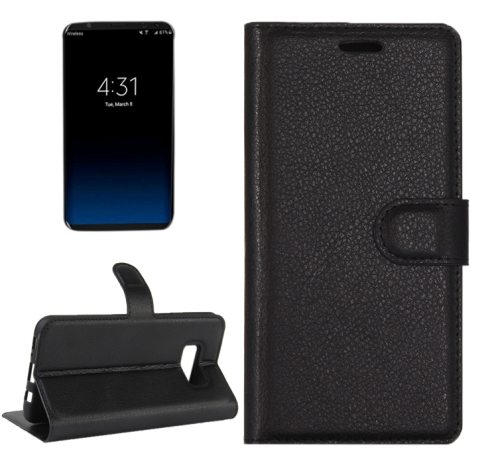 For Galaxy S8 Litchi Texture Horizontal Flip Leather Case with Magnetic Buckle & Holder & Card Slots & Wallet (Black) фото