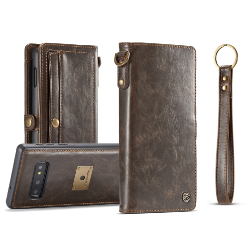 CaseMe Crazy Horse Texture Magnetic Absorption Detachable Horizontal Flip Leather Protective Case for Galaxy S10e, with Lanyard & Card Slots & Wallet(Brown)