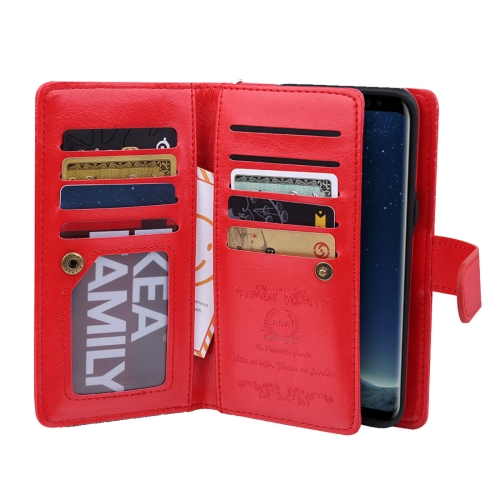 Buy For Samsung Galaxy S8 Separable Retro Crazy Horse Texture Horizontal Flip Leather Case with Detachable Back Protective Case & Nine Card Slots & Wallet & Photo Frame & Lanyard, Red for $6.84 in SUNSKY store