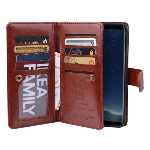 Buy For Samsung Galaxy S8 Separable Retro Crazy Horse Texture Horizontal Flip Leather Case with Detachable Back Protective Case & Nine Card Slots & Wallet & Photo Frame & Lanyard, Brown for $6.82 in SUNSKY store