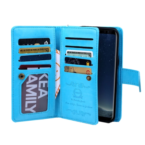 Buy For Samsung Galaxy S8 Plus Separable Retro Crazy Horse Texture Horizontal Flip Leather Case with Detachable Back Protective Case & Nine Card Slots & Wallet & Photo Frame & Lanyard, Blue for $6.84 in SUNSKY store