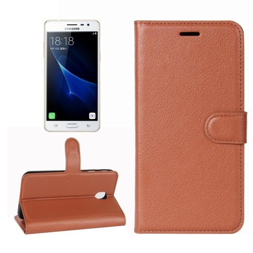 Buy For Samsung Galaxy J3, 2017 (EU Version) Litchi Texture Horizontal Flip Leather Case with Holder & Card Slots & Wallet, Brown for $2.66 in SUNSKY store