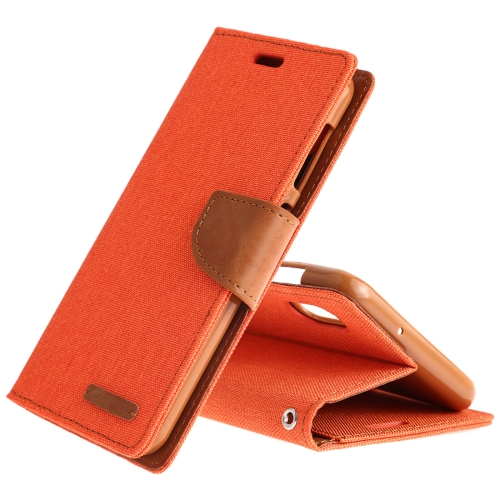 MERCURY GOOSPERY CANVAS DIARY Canvas Texture Horizontal Flip PU Leather Case for Galaxy A10, with Holder & Card Slots & Wallet (Orange)