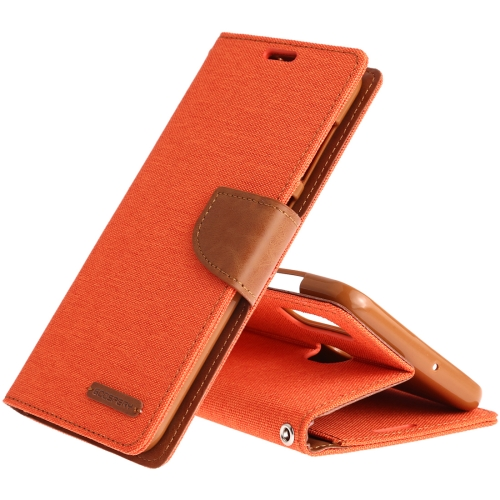 MERCURY GOOSPERY CANVAS DIARY Canvas Texture Horizontal Flip PU Leather Case for Galaxy A20 / A30, with Holder & Card Slots & Wallet (Orange)