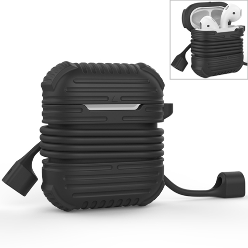 CYKE 2 in 1 8 Pin Interface Charging Box Wireless Earphones Silicone Storage Case Earphones Case for Airpods, with Magnetic Anti-lost Rope(Black)