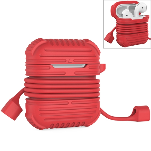CYKE 2 in 1 8 Pin Interface Charging Box Wireless Earphones Silicone Storage Case Earphones Case for Airpods, with Magnetic Anti-lost Rope(Red)
