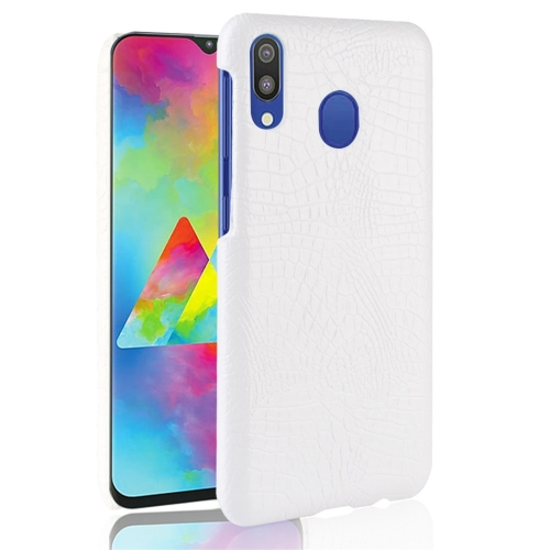 Shockproof Crocodile Texture PC + PU Protective Case for Galaxy A30 (White)