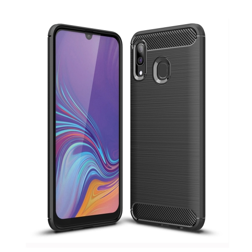 Brushed Texture Carbon Fiber TPU Case for Galaxy A40 (Black)