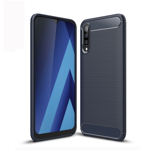 Brushed Texture Carbon Fiber TPU Case for Galaxy A50 (Navy Blue)