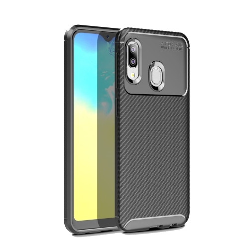 Carbon Fiber Texture Shockproof TPU Case for Galaxy A20e (Black)
