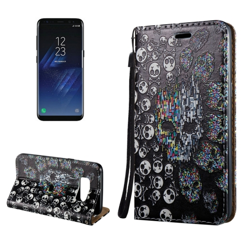 Buy For Samsung Galaxy S8 3D Relief Skull Pattern Magnetic Adsorption Horizontal Flip Leather Case with Holder & Card Slots & Lanyard for $2.97 in SUNSKY store