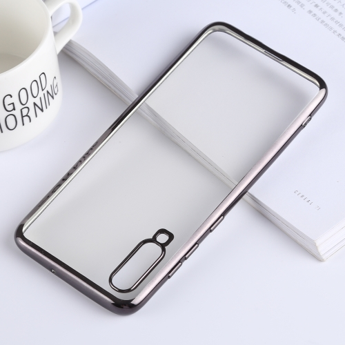 Ultra-thin Electroplating Soft TPU Protective Back Cover Case for Galaxy A70 (Black)