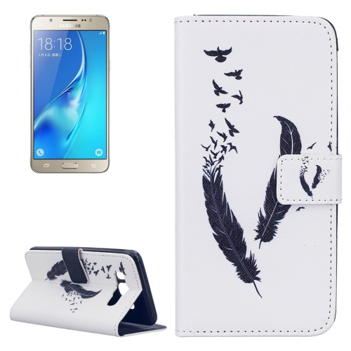 For Samsung Galaxy J5, 2016 / J510 Feather Pattern Horizontal Flip Leather Case with Holder & Card Slots & Wallet