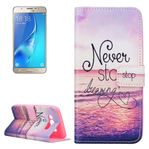 Buy For Samsung Galaxy J5, 2016 / J510 Never Stop Dreaming Pattern Horizontal Flip Leather Case with Holder & Card Slots & Wallet for $2.13 in SUNSKY store