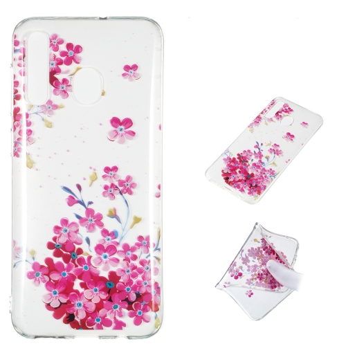 Red Plum Blossom Pattern Highly Transparent TPU Protective Case for Galaxy A50